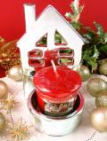 <英国流クリスマス:新品未使用品>ロマンチックなクリスマスの銀色のお家のキャンドルホルダー「アロマキャンドル付」