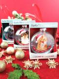 <英国流クリスマス:新品未使用品>クリスマスの猫ちゃん♪美しいガラスの大きな球形のツリー・オーナメント「お箱付」