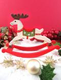 <英国流クリスマス:新品未使用品>ロマンチックなトナカイ君の木製のX'masロッキングディア「お箱入り」