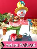 <英国流クリスマス>クリスマスの贈り物をお届けするスノーマンの水色スクーター「お箱入り」