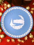 <WEDGWOOD>1979年:「BUCKINGHAM PALACE」素晴らしいブルージャスパーのクリスマス・プレート「専用パンフレット付」