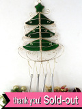 <英国流クリスマス>全長42cmロマンチックなモミの木♪ステンドグラスが美しいモミの木の大きなベル