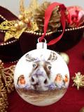 <英国流クリスマス:ロイヤルウースター未使用品>3羽のロビンさんとトナカイさんのまあるいガラスの大きなツリーオーナメント「可愛い森の動物達のお箱入り」