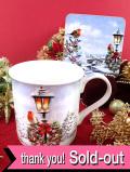 <英国流クリスマス:未使用品>とても愛らしいクリスマスロビンの大きめマグカップ「木製コースター&お箱入り」