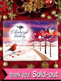 <英国流クリスマス>「shortbread」♪雪に覆われたカントリーサイドの可愛いロビンの大きなショートブレッドの大きなTIN缶