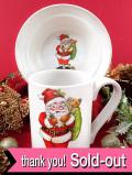 <英国流クリスマス:ポートメリオン>サンタさんのマグカップ&ボウル「2点セット」