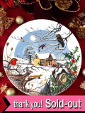 <英国流クリスマス:WEDGWOOD限定品>「Arrival of the Carol Singers」聖歌隊がやってきた森の教会のクリスマス・プレート「プレートハンガー付」