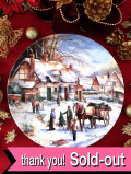<英国流クリスマス:WEDGWOOD限定品>「Buying the Christmas tree」馬車でモミの木を売る英国カントリーサイドのクリスマス・プレート「ミニパンフレット&プレートハンガー付」