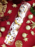 <英国クリスマス・オーナメント>伝統的な白い大きな鈴と金色のおリボンのツリー・オーナメント「6個入」