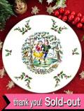 <英国流クリスマス>「1977年:ロイヤル・ドルトン」♪美しい森の湖でスケートを楽しむ男の子と女の子のクリスマス・プレート「プレートスタンド付」