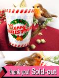 <英国流クリスマス>とても愛らしいクリスマスロビンさんの大きめマグカップ「お箱入り」