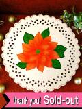 <英国流クリスマス>華やかなポインセチア♪透かし模様が美しい大きなホーローのケーキスタンド