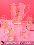 <チェコスロバキア製>1930年代:ハンドペイントのお花♪英国アンティークのレモネードジャグとグラスセット「7点完全フルセット」