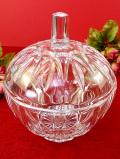 1940年代:光のカットが美しい♪英国クリスタルガラスのとても大きなフタ付BOX
