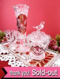 <ドイツ製:ホーフバウアー社>愛らしい小鳥さん♪立体的なクリスタルガラス細工が優雅な4点セット