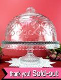 1930年代:優雅なガラス細工♪台座が付いたとても大きなふた付のケーキドーム
