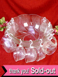 <英国ビンテージ>1950年代:レア♪立体的なガラス細工がきれいなとても大きなパンチボウルセット「12点セット」