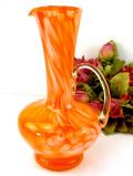 <英国ハンドメイド>1960年代:優雅なオレンジガラス♪ガラスの流れがきれいな光のウォータージャグ