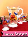 1930年代:ハンドペイントのお花♪英国アンティークのレモネードジャグ&グラスセット「4点組」