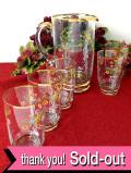 1940年代:エナメルペイントのお花♪金彩も優雅な英国アンティークの大きなレモネードジャグとグラスセット「6点セット」