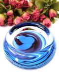 1950年代:青いマーブル模様のアンティークガラス♪ずっしりと重いアートフルなガラスボウル