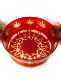 1940年代:光のお花のような赤ガラス♪とても大きなアートフルなボウル