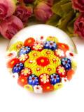 <イタリア製>ムラノガラスのモザイクのお花たち♪お花畑のようなペーパーウェイト
