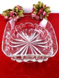 1930年代:立体的な光のお花♪分厚いアンティークガラスのとても大きなボウル