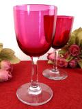 1950年代:きれいな透明ガラスのステイ♪アートフルな赤ガラスのワイングラス「2個セット」