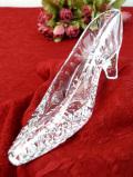 <英国ビンテージ>シンデレラの靴のよう♪クリスタルガラスがきれいな光のハイヒールの置物