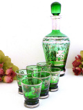 <イタリア製>緑ガラス♪銀彩の絵柄が素晴らしいデカンタ&リキュールガラス「7点セット」