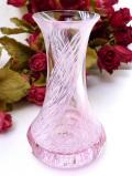 <英国ビンテージ>ぽったりとしたピンクガラス♪流れる模様が美しいアートフルなフラワーベース
