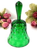 <英国ビンテージ>水玉模様のガラス細工♪緑ガラスが美しいヴィンテージベル