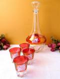 1930年代:ブドウの実と葉♪赤ガラスが優雅なリキュールセット「5点セット」