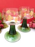 <英国ビンテージ>美しい緑ガラス♪金彩のブドウの絵柄がきれいなワイングラス「2個セット」