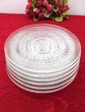 1930年代:アールデコデザイン♪立体的なガラス細工が優雅なアンティークガラスの光のお皿「6枚セット」