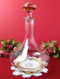 1920年代:英国アンティークガラス♪優雅な光のカットと金彩が美しいとても大きなデカンタ