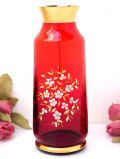 1950年代:優雅な金彩と白いエナメルのお花たち♪アートフルな赤ガラスのフラワーベース