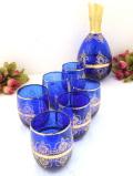<英国ビンテージ>優雅な青ガラスと金彩♪ガラス細工が美しい光の大きなジャグ&グラスセット「7点セット」