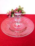 <英国ビンテージ>リーフデザインのガラス細工♪アンティークガラスのとても大きな持ち手付サーバーディッシュ