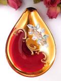 <イタリア製>1950年代:優雅なムラノガラス♪美しい赤ガラスと金彩のスモールディッシュ