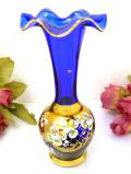 <イタリア製>金彩とエナメルペイントのお花たち♪青ガラスが美しいアートフルなフラワーベース
