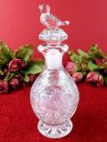 <ドイツ製:ホフバウアー社>クリスタルの小鳥さん♪立体的なガラス細が美しいふた付ボトル