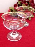 1940年代:ぽったりとぶ厚いアンティークガラス♪たっぷりとした金彩が美しいデザートカップ「2個セット」