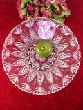 1940年代:立体的なお花たちのガラス細工♪直径33cmぽったりとぶ厚いクリスタルガラスのとてもとても大きな深さのあるお皿