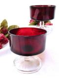 <フランス製>1940年代:赤ガラスと透明ガラスのコラボレーションがきれいなデザートカップ 「2個セット組」