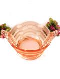 1930年代:爽やかなピンクガラス♪立体的なガラス細工が美しいとても大きなボウル