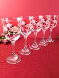 1960年代:ロマンチックなお花たち♪ガラス細工が美しいワイングラス「5個セット」