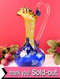 <イタリア製>1930年代:優雅なムラノガラス♪青ガラスが美しいバラのお花のフラワーベース