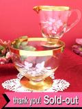 <英国ビンテージ>白いワイルドストロベリー♪輝く金彩が美しいアンティークガラスのミルクジャグ&シュガーボウル「2個セット」